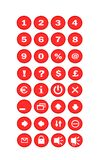 Red Buttons. Thirty-two buttons with icons for pc vector illustration