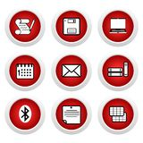 Red buttons with icon 9 Royalty Free Stock Images