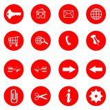 Red buttons with internet icons vector set. On white background royalty free illustration