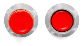 Red buttons. Isolated on white background. Pressed and not Royalty Free Stock Photo