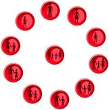 Red buttons with man, woman, child and family figures. Set of red buttons with man, woman, child and family figures Stock Photography