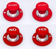 Red buttons for stop & start Royalty Free Stock Photos