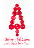 Red buttons tree christmas background, isolated on white background with copy space Stock Photos