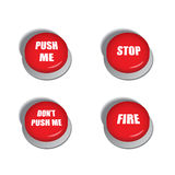 Red buttons with various commands - illustrations. Red buttons with various commands like - stop, push me, fire and dont push me stock illustration