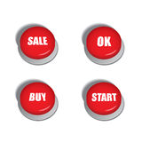 Red buttons with various commands such as sale, buy or start Stock Image