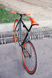 Red bycicle parked in park top view Royalty Free Stock Photography
