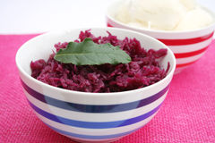 Red Cabbage. Fresh red, cooked cabbage in a bowl Stock Image
