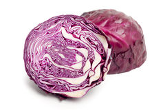 Red cabbage. On a white background stock images