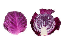 Red cabbage. And quarter slice on white background Royalty Free Stock Image