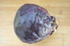 Red Cabbage. Single red cabbage on a wood background Royalty Free Stock Images
