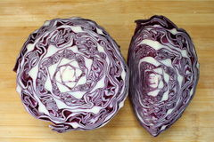 Red cabbage. On a wood background Royalty Free Stock Image