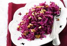Red cabbage and apple salad Stock Photo