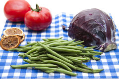 Red cabbage and beans with tomato Stock Photography