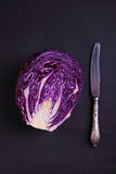 Red cabbage on a black Royalty Free Stock Photo
