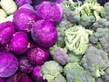 Red Cabbage And Broccoli Stock Images