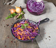 Red cabbage with carrot in pan Royalty Free Stock Photos