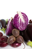 Red cabbage is a cross-sectional, eggplant, red onion, beetroot and salad Stock Photo