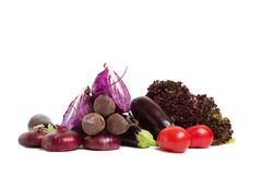 Red cabbage is a cross-sectional, eggplant, red onion, beetroot and salad closeup Royalty Free Stock Photo