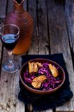 Red cabbage and duck breast spicy salad royalty free stock image