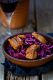 Red cabbage and duck breast spicy  salad Royalty Free Stock Photo