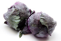 Red cabbage. Fresh red cabbage on white background Stock Photos