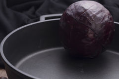 Red cabbage ina giant pan Stock Images