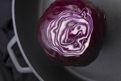 Red cabbage ina giant pan Stock Photo
