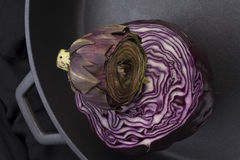 Red cabbage ina giant pan Stock Photography