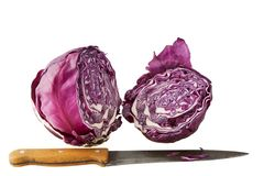 Red cabbage and knife Stock Photos