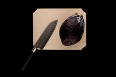 Red cabbage with knife Stock Photo