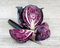 Red cabbage with a knife Stock Images