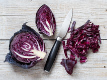 Red cabbage with a knife Stock Image