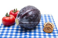 Red cabbage on napkin Stock Photo