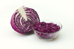 Red cabbage and plate with salad Royalty Free Stock Photos