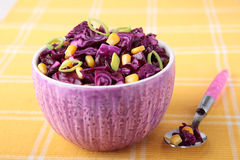 Red cabbage salad with corn Royalty Free Stock Image
