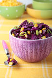 Red cabbage salad with corn and leek Stock Photos