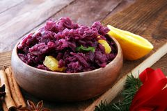 Red Cabbage salad with orange and pecan nuts for Christmas dinne. R. Vegetarian dish Stock Image