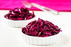 Red cabbage salad on white background Royalty Free Stock Photo
