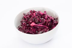 Red Cabbage Salad in white China Bowl royalty free stock photo