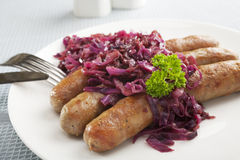 Red Cabbage and Sausage Royalty Free Stock Image