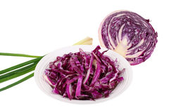 Red cabbage  and scallion Royalty Free Stock Photo
