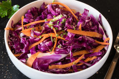 Red Cabbage Slaw. Red Cabbage, carrot, and chive slaw Stock Image