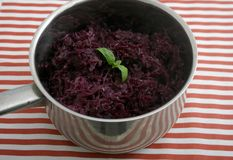 Red Cabbage. Some cooked red cabbage in a cooking pot Royalty Free Stock Photos