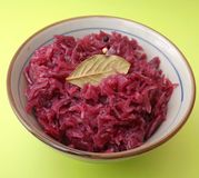 Red Cabbage. Some fresh red cabbage in a bowl royalty free stock photos