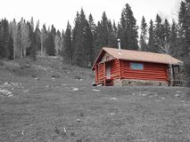 Red Cabin. Cabin in the forest Royalty Free Stock Images