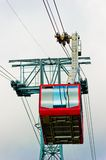 Red cabin of a chair lift at Mount Tahtalı. Royalty Free Stock Images