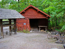 Red cabin in Skansen Stock Photos