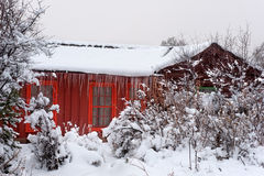 Red Cabin in Snow Stock Images