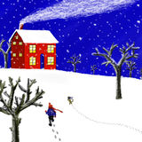 Red cabin in snowing. A boy and his dog walking home in the snowing evening Royalty Free Stock Images