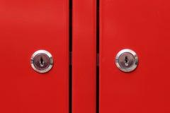 Red cabinet door Stock Photos